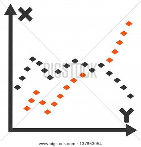 Dotted Functions Plot vector toolbar icon. Style is bicolor flat icon symbol, orange and gray colors, white background, rhombus dots.