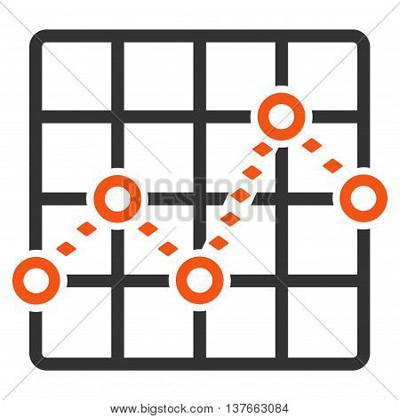 Dotted Line Grid Plot vector toolbar icon. Style is bicolor flat icon symbol, orange and gray colors, white background, rhombus dots.