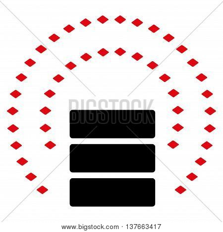Database Sphere Shield vector toolbar icon. Style is bicolor flat icon symbol, intensive red and black colors, white background, rhombus dots.