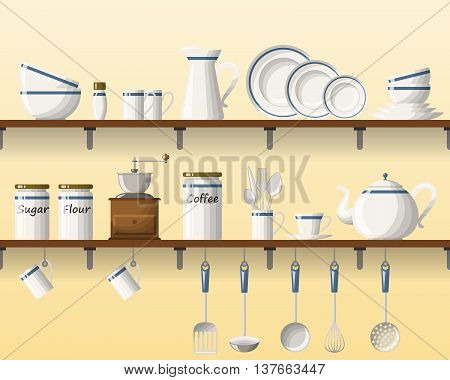 Kitchen shelving with tableware seamless part 1 of 4