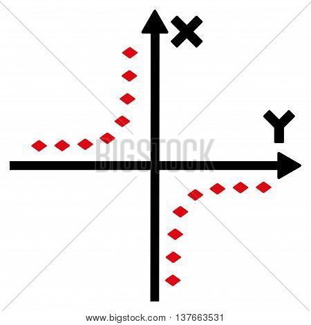 Dotted Hyperbola Plot vector toolbar icon. Style is bicolor flat icon symbol, intensive red and black colors, white background, rhombus dots.