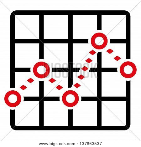 Dotted Line Grid Plot vector toolbar icon. Style is bicolor flat icon symbol, intensive red and black colors, white background, rhombus dots.