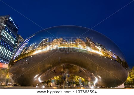 Chicago Unites States: May 26 2016: Long Exposure of Cloud Gate at Night
