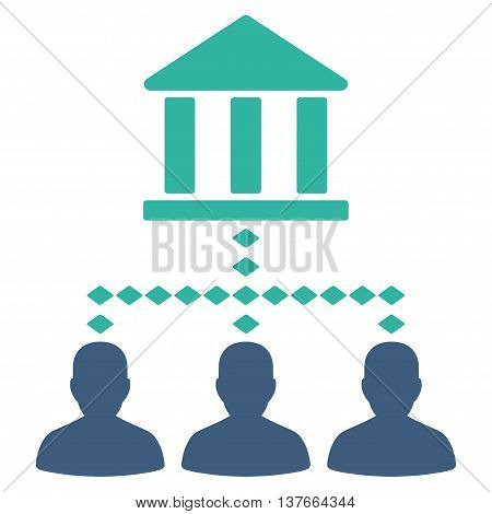 Bank Building Client Links vector toolbar icon. Style is bicolor flat icon symbol, cobalt and cyan colors, white background, rhombus dots.