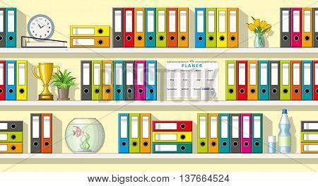 Illustration of colorful folders and utensils on shelves seamless