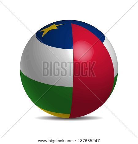 Central African Republic flag on a 3d ball with shadow, vector illustration