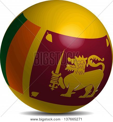 Sri Lanka flag on a 3d ball with shadow , vector illustration