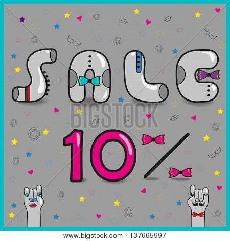Inscription Sale Ten percents. Artistic font. Gray letters with colorful ties. Pink numerals. Cartoon hands looking at each other. Illustration.