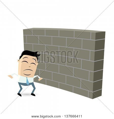 sad businessman standing in front of a big wall