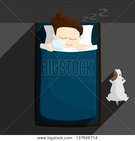 bed sleep time salary man cartoon lifestyle illustration. cartoon salary man lifestyle in different emotions and activities.