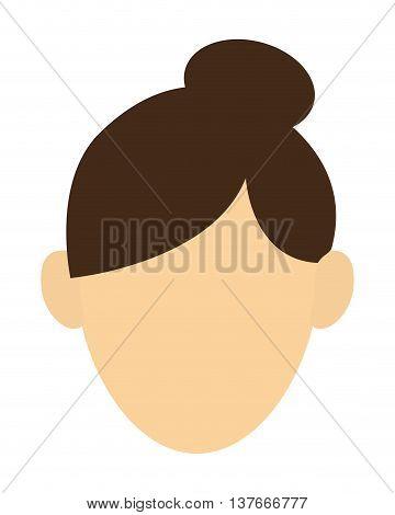 simple flat design faceless woman with high bun portrait icon vector illustration