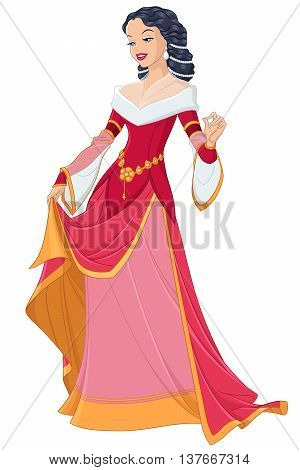 Medieval lady in red dress. Vector illustration isolated on white background.