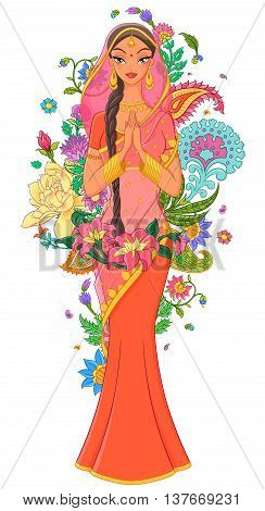 Beautiful indian girl in sari surrounded with flowers and traditional ornaments. Vector illustration isolated on white background.