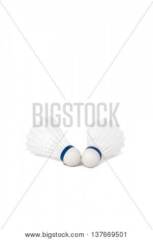 Two badminton shuttlecock isolated on white