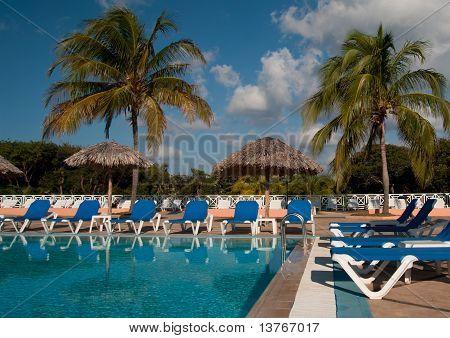 Pool Side In A Tropical Resort