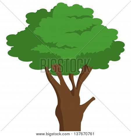 simple flat design single tree icon vector illustration