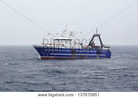 The Bering Sea Russia - Jun 18th 2016: The Bering Sea fishing seiner VLADIMIR STARZHINSKY fishes.