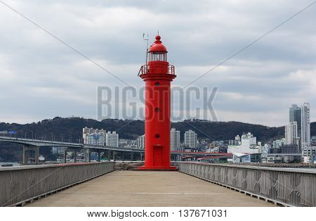 Busan South Korea - March 24th 2016: Busan beacon in the western part of island Yeongdo.