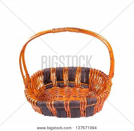 wicker basket brown bamboo handmade from local thailand isolated on white