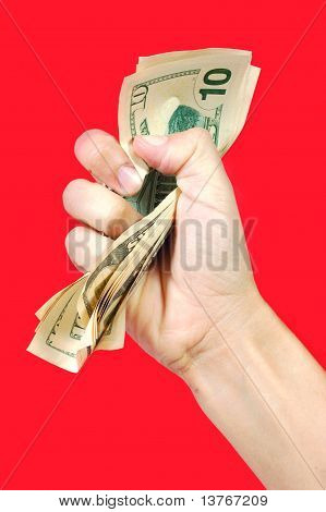 Hand Squeezing Money