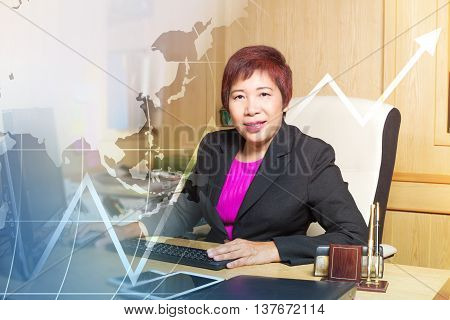 Business Woman Asian Manager Senior Age Siting On Desk Look Elegant Growing Up Graph World Map Blend