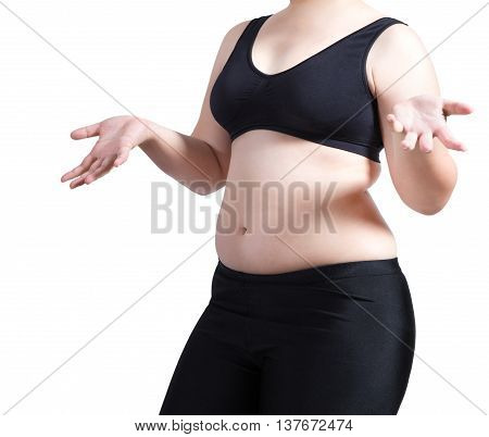 woman show body fat wear black bra weight loss concept isolated on white