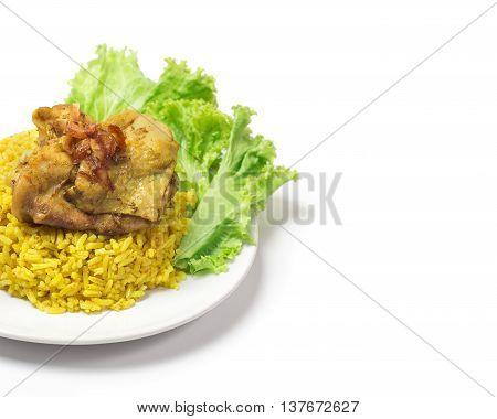 Thai Chicken Biryani (khao Mok Gai) Or Yellow Curry Rice Thai Food Style Isolated On White