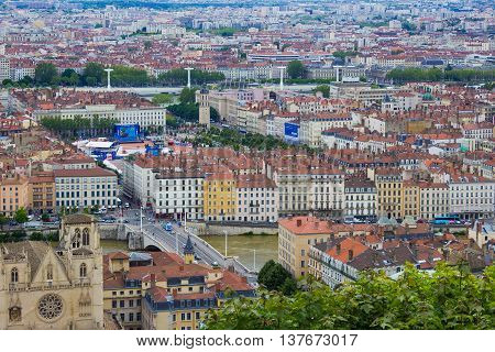 LYON, FRANCE - JUNE 16, 2016: aerial view of the city skyline with the fan zone of the European Football Championship EURO 2016