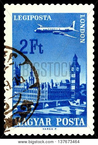 STAVROPOL RUSSIA - June 28 2016: A stamp printed in Hungary shows plane flying over London circa 1966