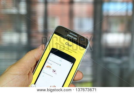 MONTREAL CANADA - JULY 1 2016 - Snapchat Chat on android cell smartphone. Snapchat is a mobile messaging application used to share photos videos text and drawings.