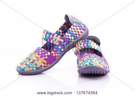 Close up of elastic shoes on white background isolated