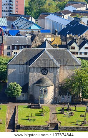 Aerial view of Kirk of the Canongate Edinburgh Scotland UK
