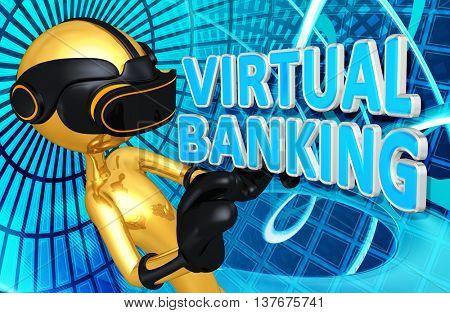 Virtual Reality VR Banking 3D Illustration