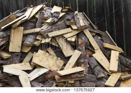 woodpile chopped pine firewood heap stack log
