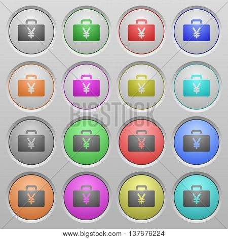 Set of Yen bag plastic sunk spherical buttons.