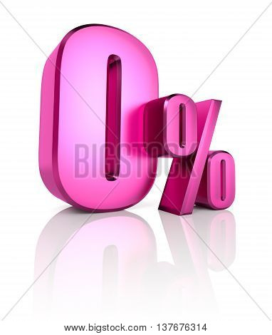 Pink zero percent sign isolated on white background. 3d rendering