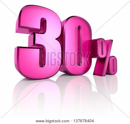 Pink thirty percent sign isolated on white background. 3d rendering