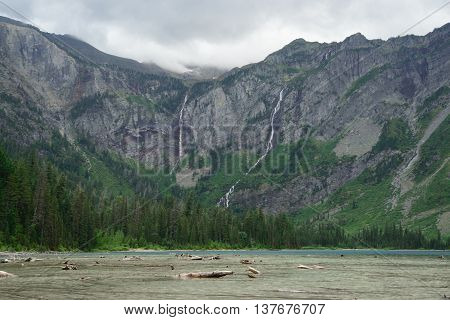 Wide Angle Of Avalanche Lake In Cloudy Day, Glacier National Park, Montana