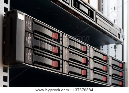 Close Up Photo Of Rack Mounted Disk Array Server