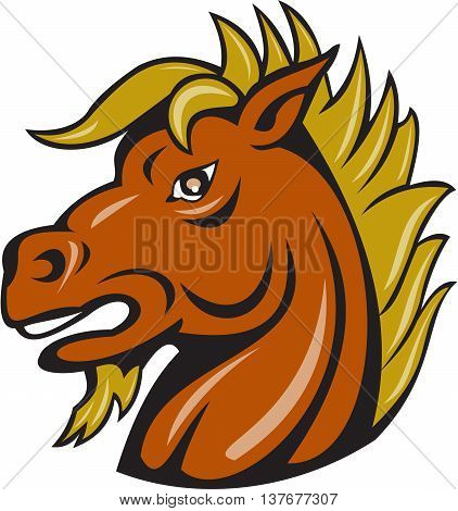 Illustration of a head of an angry stallion viewed from the side set on isolated white background done in cartoon style.
