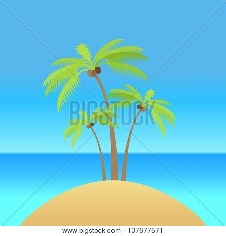 Island with palm tree silhouettes with coconut. Vector illustration. Island in the ocean