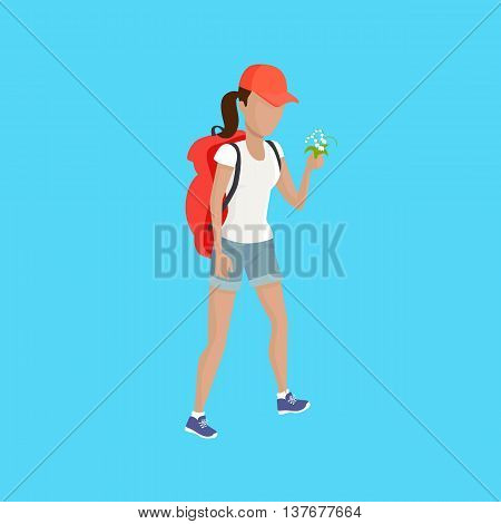 Hiking with backpack illustration. Woman in shorts with supplies and flower walks on blue background. Vector in modern flat design. Traveller lifestile concept.