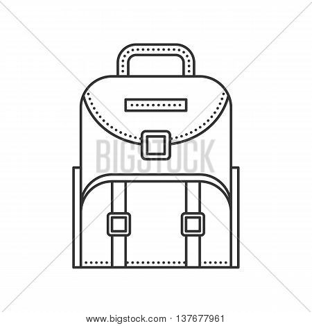 Backpack icon. Thin line vector illustration. Backpack for school children, students