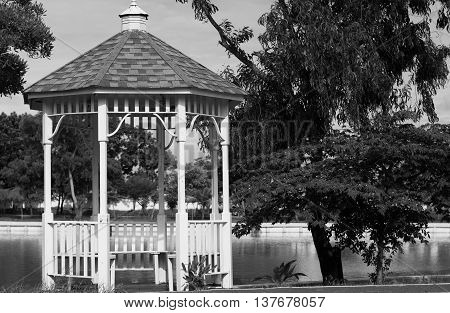 Waterfront gazebo for relaxing in the park.