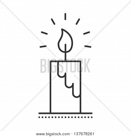 Candle icon. Burning candle thin line vector illustration