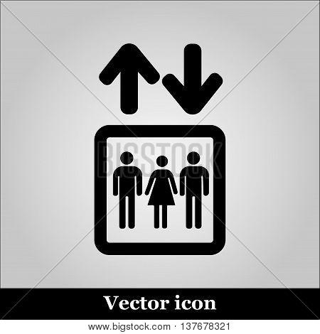 Lift or elevator symbol on grey background, vector illustration