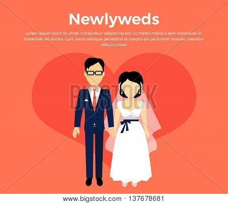 Newlyweds couple design banner concept flat style. Beautiful young couple newly-married couple isolated on a red background. Love people and wedding, groom and bride marriage .Vector illustration