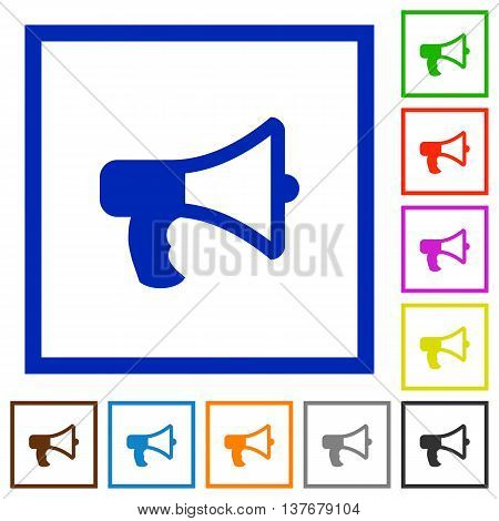 Set of color square framed Megaphone flat icons