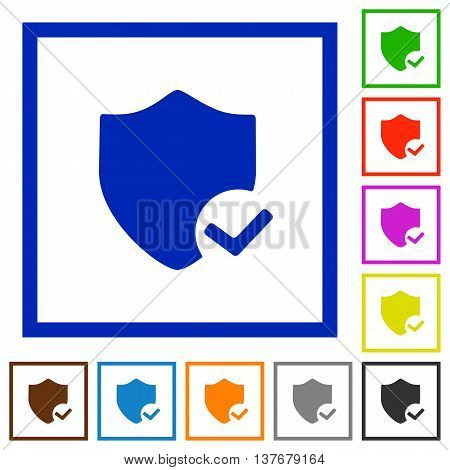 Set of color square framed Protection ok flat icons