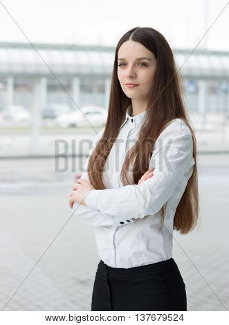 Confident Business Woman Standing In Office